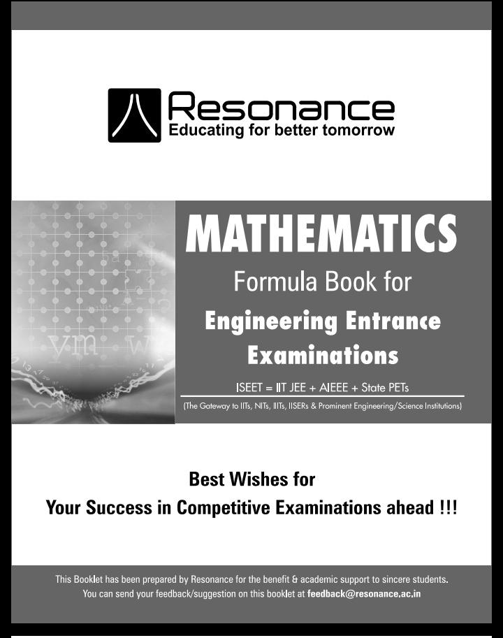Mathematics Formula Book By Resonance Download Free Pdf Edu Journal