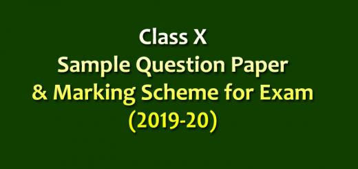 Class X Sample Question Paper & Marking Scheme for Exam 2019-20